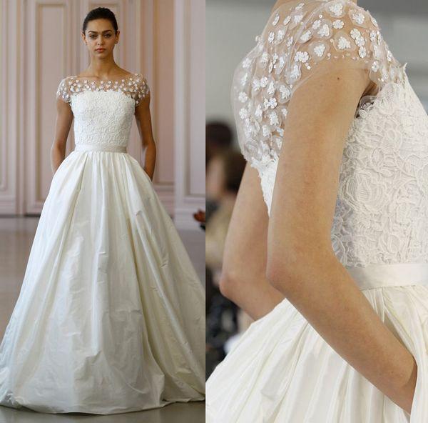 Satin Wedding Dresses 2016 Oscar De La Renta Ball Gown Bridal Beteau ...