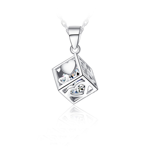 Hot Sale 925 Sterling Silver Love Cube Shape Crystal Heart Necklace Pendant For Women Jewelry Valentines Gift Free Shipping