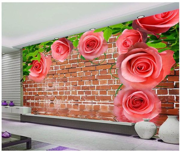 Papel de parede Creative stereoscopic rose pattern mural wall sticker new larger wallpaper costomize size 896035
