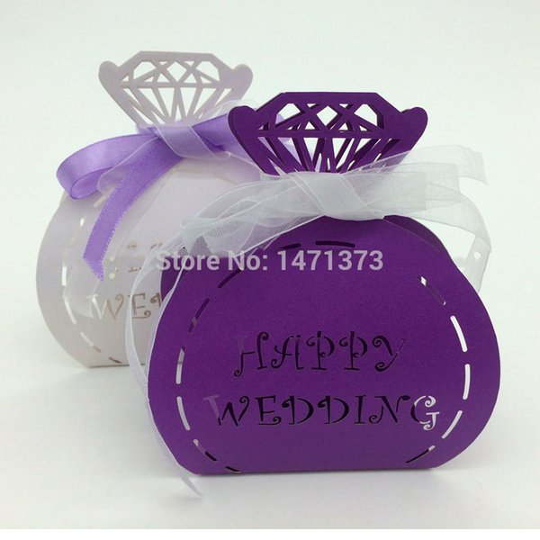 2015 New Arrival 100pcs Paper Diamond Pattern Laser Cute Wedding Candy Box Favors Gifts Sweet Bags Baby Shower Merriage Supplies