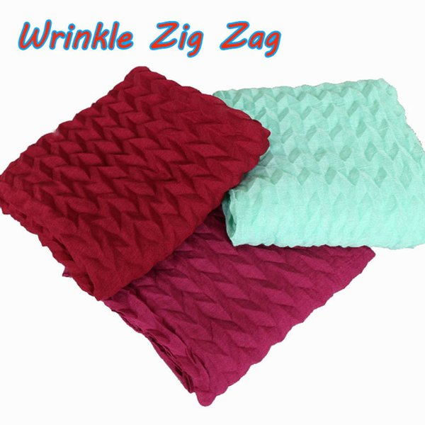 Popular design wrinkle zig zag raised grain cotton viscose shawls hijab drape muslim headband 20 color scarves/scarf 170*75cm
