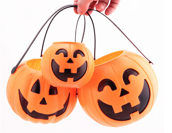 best selling Halloween Decoration Props Smile Face Pumpkin Candy Bags Basket LED Lantern Craft Ornament S M L size Available Free Shipping