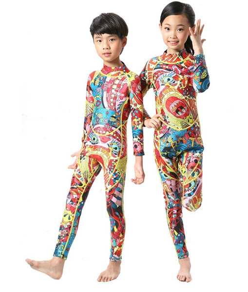 2015 New 3mm NEOPRENE Kids Wetsuits Snorkeling thicke warmness long Sleeve Swimming Diving Suit Jumpsuit Swimwear Free Shipping