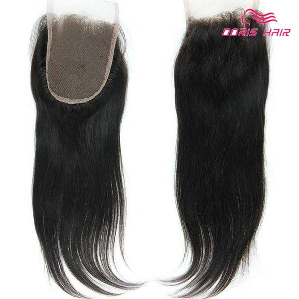 9А Бразильские человеческие волосы кружева закрытие свободная часть Средняя часть три части 4x4 дюймов сверху Закрытие человеческих волос Натуральный цвет Передняя кружева