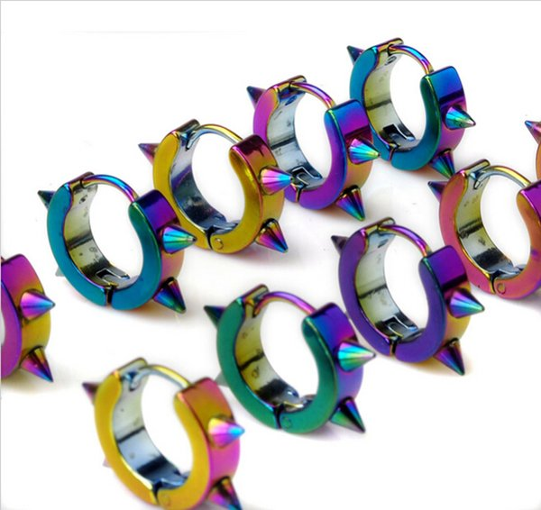 Spike Punk Surgical Steel Anodized Rainbow Huggie Earrings Hoop Earrings Ear Studs 20pieces/lot Free Shipping HE001