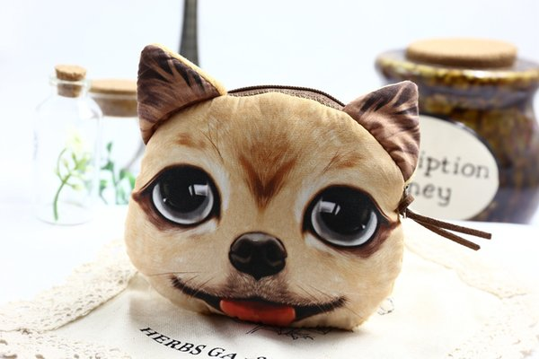 9 styles Women's Fashion Dog face Clutch Purses Coin Purse Bag Wallet 3D Cute Dog Change Purse christmas gift D662J