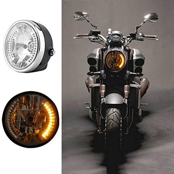 7'' Motorcycle Amber 26 LED Round Headlight Turn Signal with 35W HID 6000K for Honda Kawasaki Yamaha Suzuki Harley Ktm
