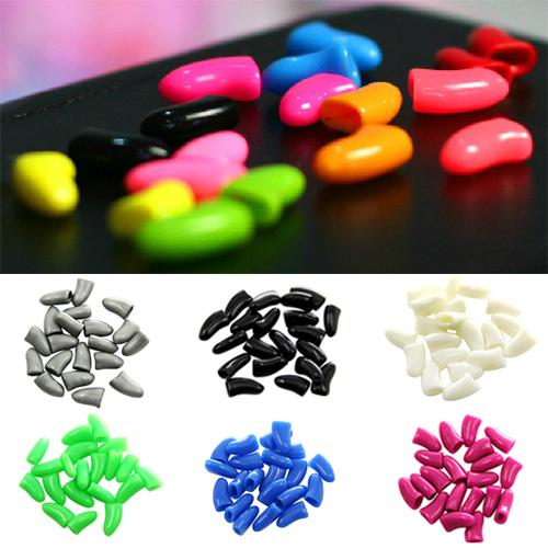 Hot New 20Pcs Colorful Soft Pet Dog Cat Kitten Paw Claw Control Nail Caps Cover TT106