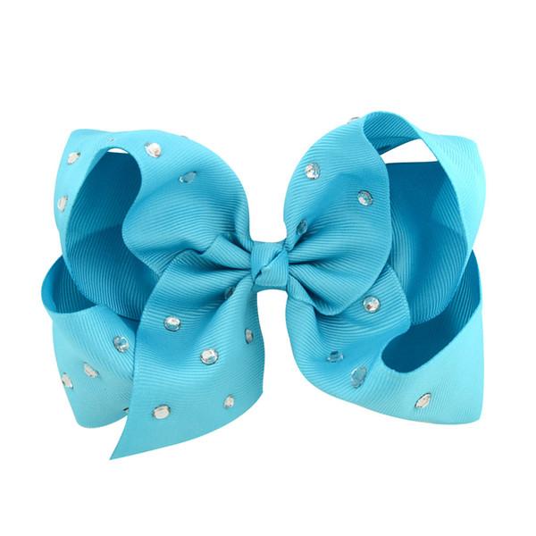 """100 Pcs girl 5"""" Plain colour ribbon ABC hair bows alligator clips with CZ rhinestone school headwear hair elastic ties accessories HD3495"""