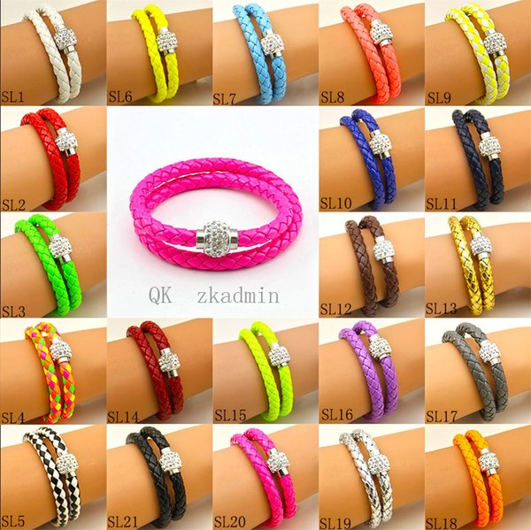 Hot Sale PU Leather Bracelet Shamballa CZ Disco Crystal Bracelet Fashion Magnetic Clasp Bracelet Wristband Jewelry