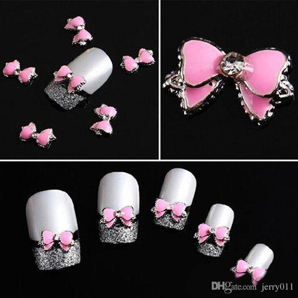 best selling 10Pcs 3D Pink Multi Rhinestones Bow Tie Nail Art Decoration Stickers Diy Drop Shipping NA-0101-PK-10PCS