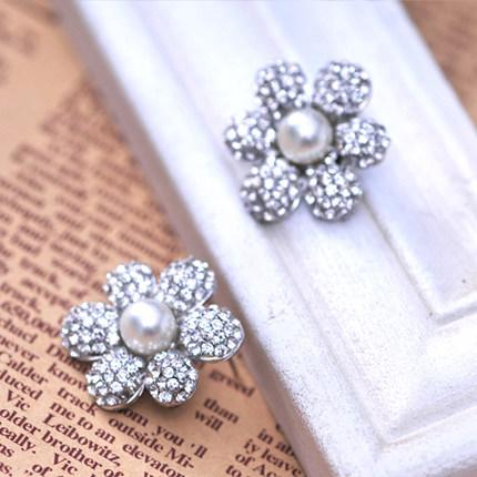 Free Shipping Pearl Bead CZ Diamond Silver Wedding Earrings Bridal Accessories Exquisite Cheap Pageant Jewelry Stud Earring Fashion Eardrop