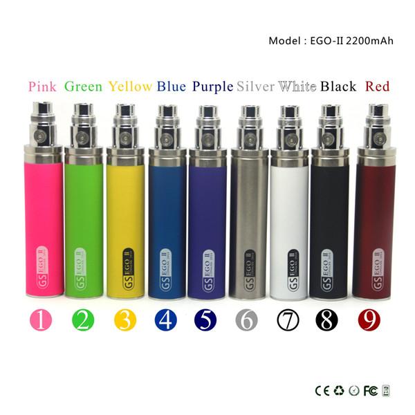 GS ego battery EGO II 2200mah tiny body big capacity 8 colors avaliable electronic cigarette wholesale DHL free shipping