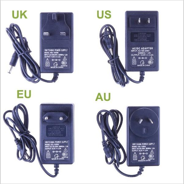 New 12V 2A Power Supply Adapter For RGB Led Strip AC85-265V to 12V EU US AU UK Cord Plug LED Strips Transformer