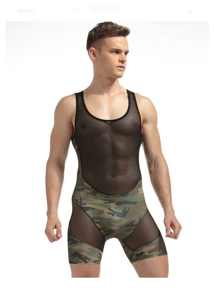 top popular Cool Men Camouflage Bodysuit Perspective Mesh Splicing Tank Jumpsuit Male Breathable Comfortable One Piece Underwear 2019