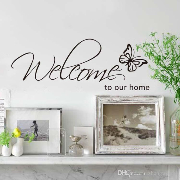 Best Sales English Welcome Home Butterfly Wall Stickers Shop Window Stickers  Decorative Glass Door Stickers Decorations