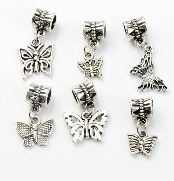 top popular Butterfly Dangle Big Hole Beads 100pcs lot 6styles Tibetan Silver Fit European Charm Bracelet DIY Metals Loose Bead 2020