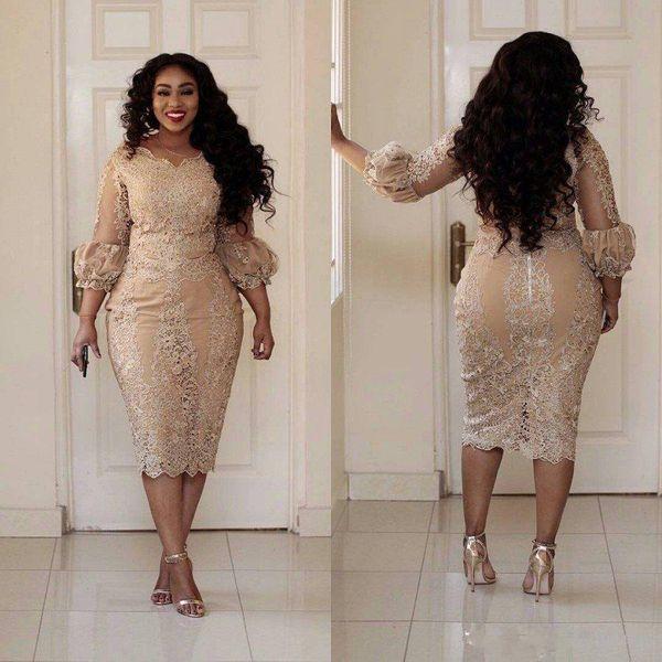 2019 Yeni Seksi Artı Boyutu Kokteyl Elbiseleri Jewel Boyun Aplike Fermuar Çay Boyu Balo Elbise Moda Şampanya Pretty Kadın Parti Elbise 173