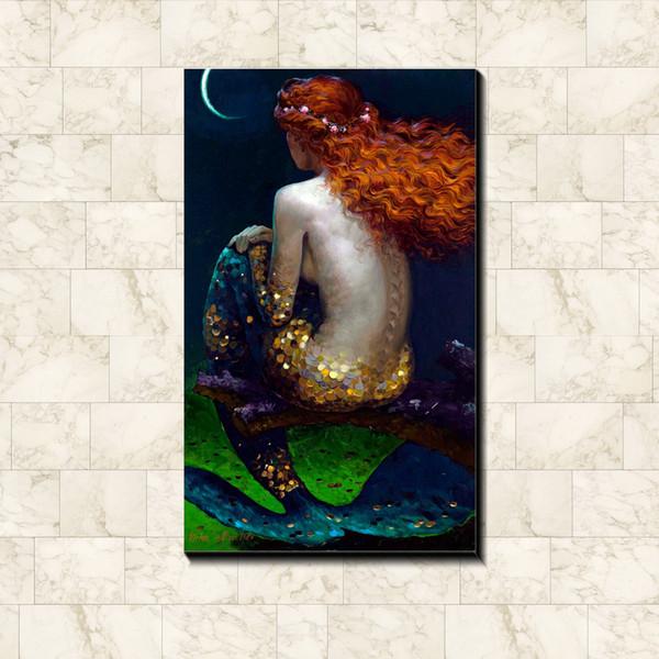 Pintura das crianças da sereia imagem cartaz Tecido de seda lona cartaz impressão hot Home bar pub Arte Pintura Decorativa 60 * 40 cm / 75 * 50 cm