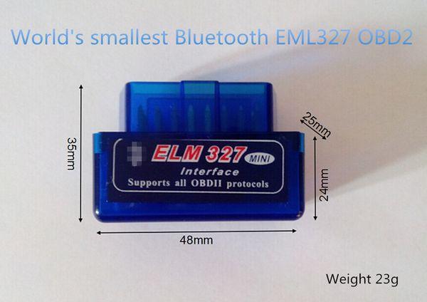 best selling ELM327 Bluetooth OBD2 Wholesale Super Mini BT OBDII Elm327 Support All Obdii V2.1 Torque Android
