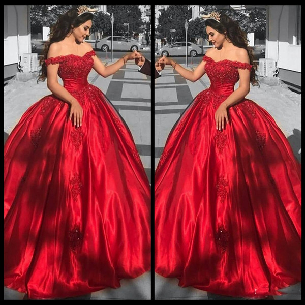 19e5c1d1e3f 2018 Corset Quinceanera Dresses Off Shoulder Red Satin Formal Party Gowns  Sweetheart Sequined Lace Applique Ball Gown Prom Dresses Prom Dress  Shopping ...