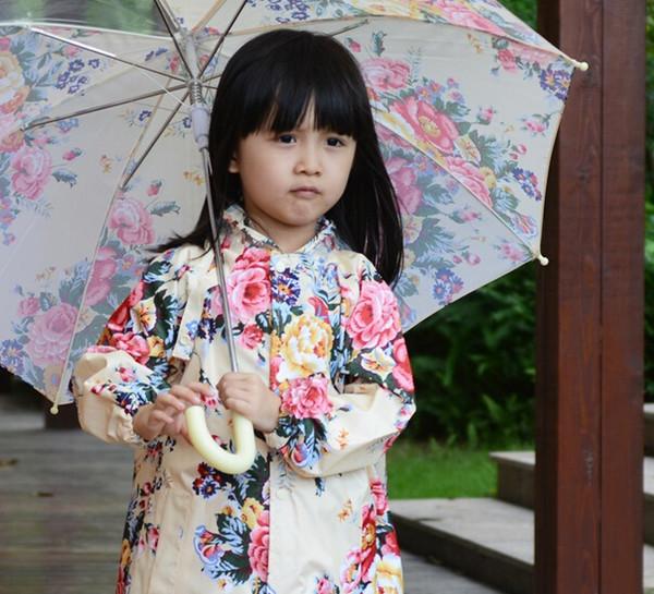 child flower raincoat Girl Rainwear coat waterproof raincoat children floral raincoat poncho kids long sleeve for school bag free shipping