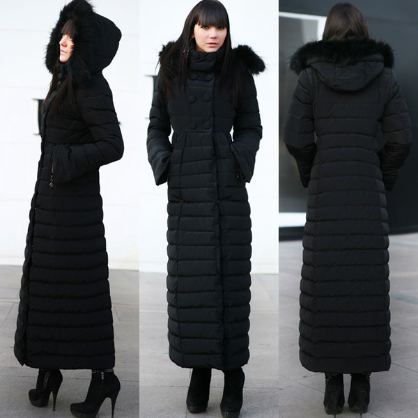 best selling High Quality Winter Super Warm Sheath Women Down Double-Breasted Detachable Hat Pockest Long Sleeve Ankle-Length Ladies Parkas 3 Colors