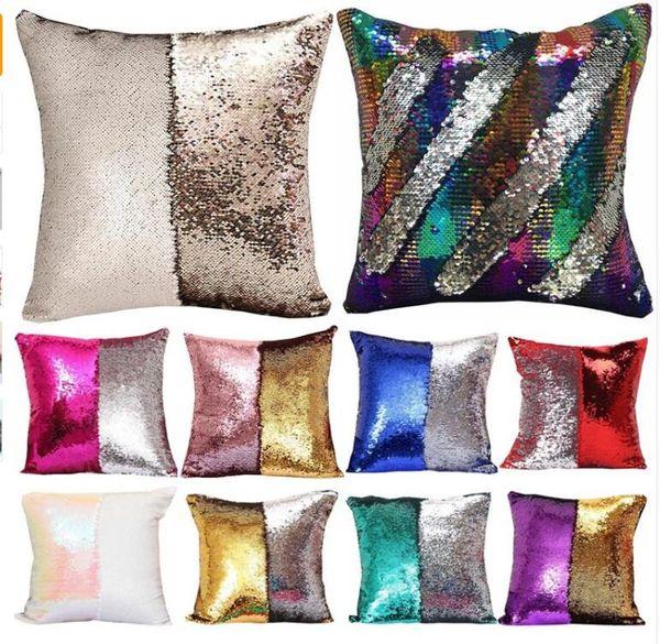 Bedding Outlet Mermaid Sequin Cushion Cover Magical Shining Pillow Case Patchwork Decorative Pillowcase Sofa Car Fashion 40X40cm
