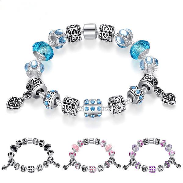 Fashion Charm Bracelets with Murano Glass Beads & Silver Charms Snake Chain Beaded Bangle Bracelets for Women BL054