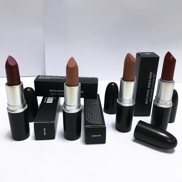 120pcs Good quality Luster Lipstick RUBY WOO CHILI VELVET TEDDY HONEYLOVE KINDA Frost Retro Matte Lipstick 3g with english name 18 colors