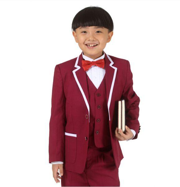 Customize new boy's suit flower boys dress children suit wedding dress performance clothes (jacket+pants+vest+tie) custom made