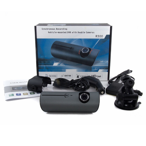 """DHL 3-5 DAY DELIVERY R300 2.7 """"LCD Wide Angle High Definition Dual Lens Dash Cameras Car Camera GPS Logger and G-sensor R300 Car DVR R300"""