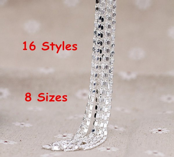 "16""/18""/20""/22""/24""/26""/28""/30"" Singapore Chain 925 Sterling Silver Beautiful Water Wave Necklace With Lobster clasps"