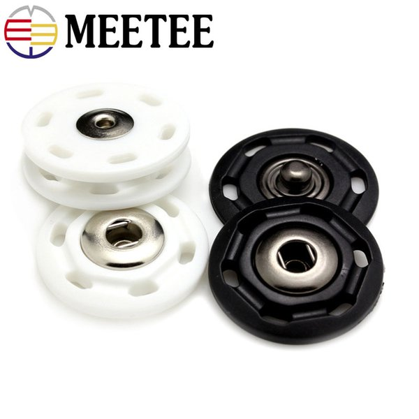 Meetee Tich Press button fastener snap Buttons for clothing Nylon Buckle Plastic Invisible Coat Clothes 18mm 22mm 25mm handmade Sewing Craft
