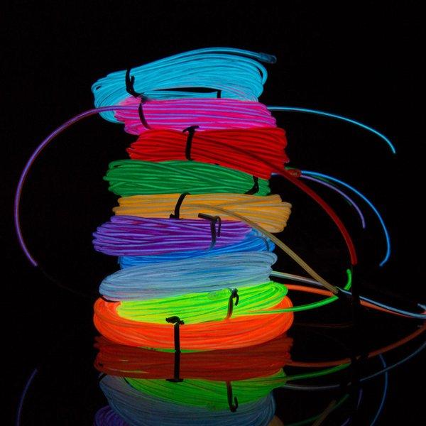 Flexible Neonlicht 8Colors 3M EL-Drahtseil-Schlauch mit Controller Halloween Weihnachten LED-Licht-Party-Tanz-Auto-Dekor-Glow Kabel Licht