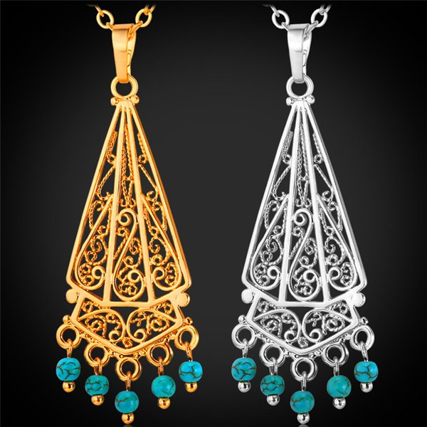 Bohemian Tassel Turquoise Pendant Necklace 18K Real Gold/Platinum Plated New Summer Jewelry Gift For Women P1157
