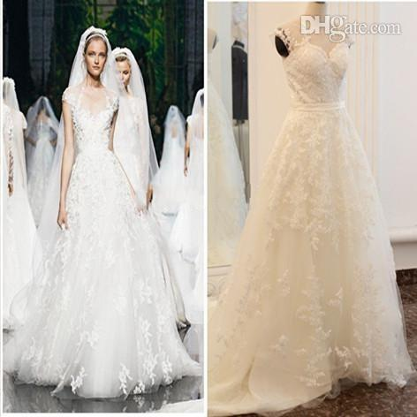 2015 Sexy Backless Sheer Crew Neckline Lace Cap Sleeves A-Line Wedding Dresses Summer Fall Winter Plus Size Lace Bridal Gown Zuhair Murad