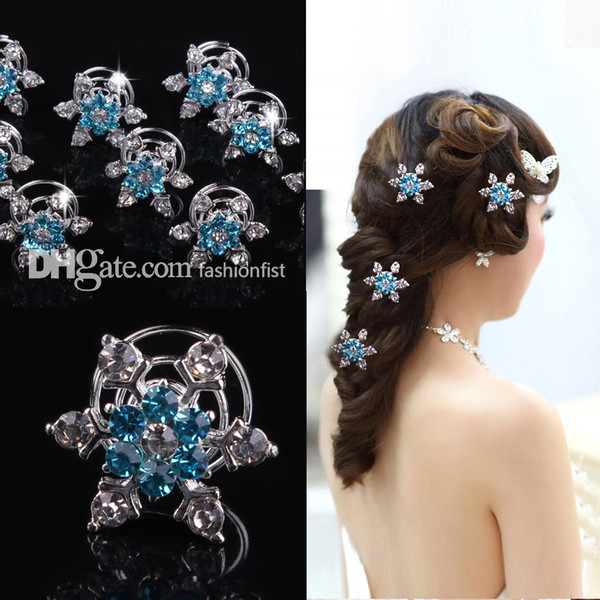 best selling 100pcs Brand New Frozen direct bridal & Kids hair accessories plate snowflake diamond jubilee clip Frozen Hair Hot Sale