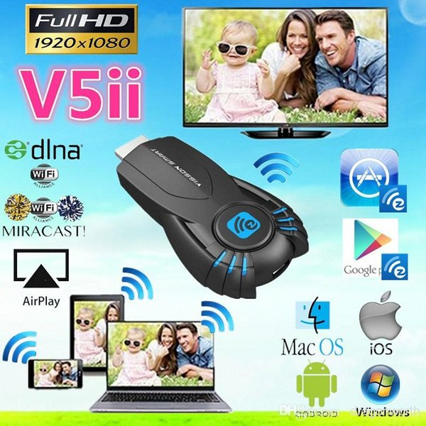 Vsmart V5ii Ezcast Smart TV Stick Media Player with function of DLNA Miracast Airplay 1080P support Windows ios andriod