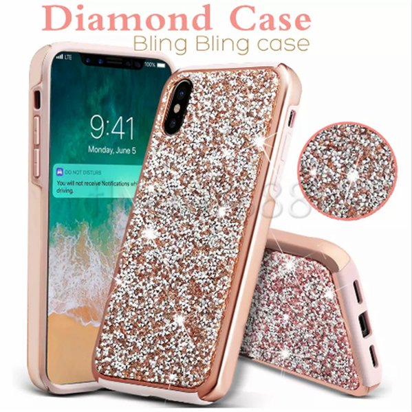 Premium bling 2 in 1 Luxury diamond rhinestone glitter back cover phone case For iPhone X 8 7 5 6 6s plus Samsung s8 note 8 cases