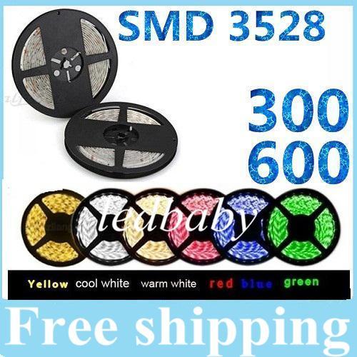 3528SMD 5M 300 Led / 600 Led Strisce led impermeabili flessibili luce 12V caldo / freddo bianco rosso / verde / blu / giallo / rosa per luci natalizie