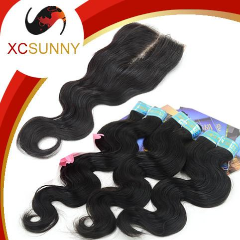 Brazilian Virgin Hair Body Wave Lace Closure 4*4 Top Closure and with 3pcs Unprocessed Human Virign Hair Weave Bundles BS014