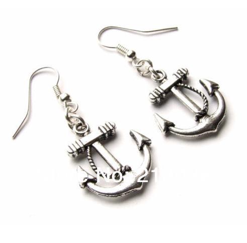 Anchor Nautical Charms Drop/Dangle Earrings 925 Silver Fish Ear Hook 50pairs Tibetan Silver Chandelier Earrings Jewelry Gift HOT N1501
