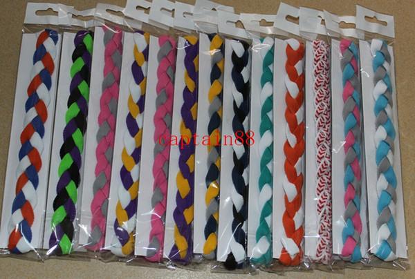 300 pcs New triplo tecido headband de beisebol macio trançado mini headband do cabelo acessórios para menina e mulheres