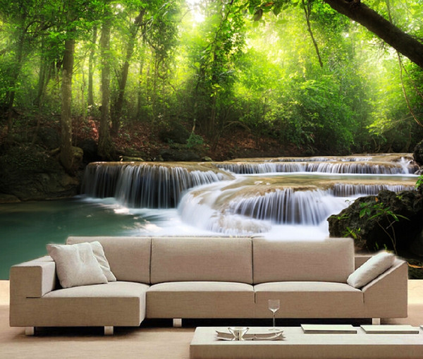new Art customized 3d stereo chinese style waterproof large mural wall coating waterfall tv background wall roll room wallpaper