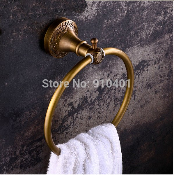 Hot Sale Wholesale And Retail Promotion Hot Sale Antique Brass Wall Mounted Towel Rack Holder Round Towel Ring Hanger