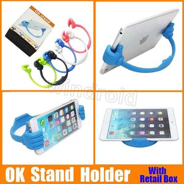 Universalität der Daumen OK Standplatz-Halter für IPad Tablette PC IPhone 5 5S 6 6 PlusSamsung S3 S4 S5 Anmerkung 3 4 DHL geben Verschiffen mit Kleinkasten 50 frei