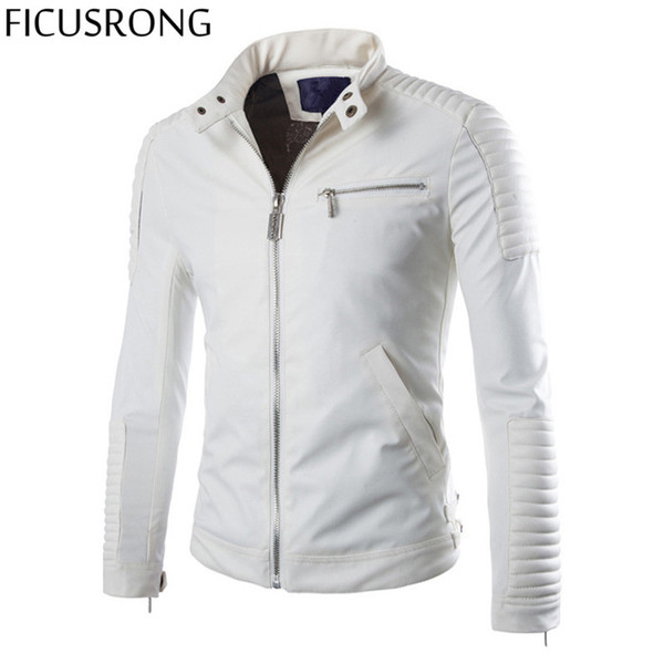 Wholesale- FICUSRONG 2017 New Spring Slim Fit Leather Biker Jacket For Men Casual Motorcycle Jackets And Coats Zipper Veste Brand Clothing