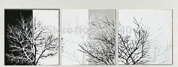 Abstract Black White Tree Stretched oil painting canvas Winter Landscape handmade Modern home office hotel wall art decor Free Shipping Gift