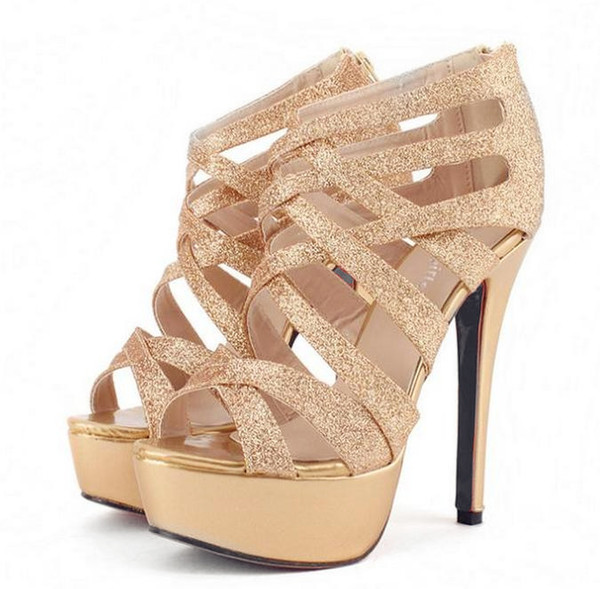 Sexy Wedding Shoes Silver Gold Gladiator Sandals Strappy High Platform Stiletto Heel Dress Shoes 2016 Size 35 To 39 Driving Shoes Cheap Trainers From